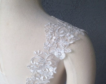 Set of Two Detachable Ivory and Silver Lace Straps to Add to your Wedding Dress