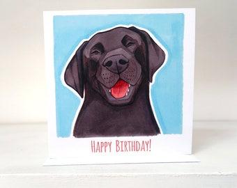 Black Labrador Happy Birthday Card