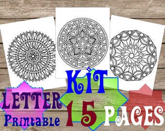 Kit of 15 coloring pages for adults, Mandalas, Zentangles, Doodles. Letter, scaleable PDF files, maximum legibility of vector graphics. 1.