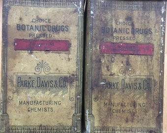 Pair of Large Antique Apothecary Canisters/Tins. Parke, Davis & Co. Squaw-Vine and Boneset
