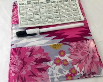 Pink Duplicate Checkbook Cover Register -  Duplicate Checkbook Reigster Fabric Checkbook Cover - Joel Dewberry Wander Moon Garden in Rosetta