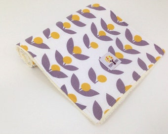 Burp Cloths, Yellow And Gray Flowers - Set Of 2