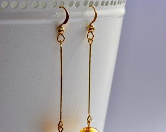 Gold Venetian Glass and Gold Long Drop Earrings