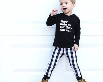 Black and White Buffalo Plaid Baby Leggings - Baby Pants - Toddler Pants - Baby Leggings - Toddler Leggings - Baby Clothing - Kids Clothes