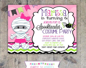HALLOWEEN MUMMY INVITATION 5x7 Birthday Party - Girl Printable