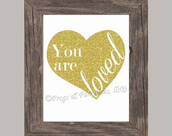 You Are Loved Gold Glitter Heart Paper Print Wall Art