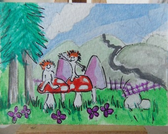 ACEO WATERCOLOUR Two Brothers, Woodland Folk