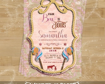 COWGIRL Invitation for Birthday Parties and Printables - Size 5x7''