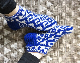 hand knit wool slippers for women, thick wool slipper socks, blue wool slippers No342-343