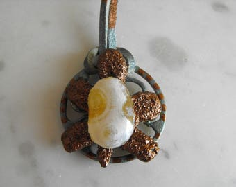 Textured Copper Turtle Pendant, Hand Painted Cord