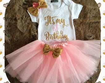 Baby Girl First Birthday Tutu. 1st birthday outfit