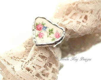 Roses Heart Ring Small Heart Shape Broken China Delicate Pink Shabby Roses Statement Heart Ring