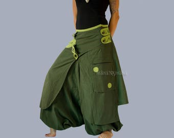 Harem Pants Skirt -  Aladdin Trousers - Boho Afghani - Green Skirt-pants