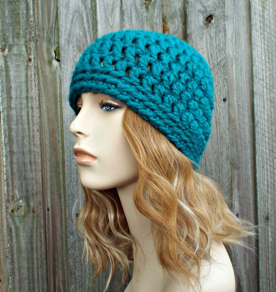 Peacock Blue Beanie Blue Hat - Crochet Womens Hat Blue Mens Hat - Blue Womens Hat Warm Winter Hat - READY TO SHIP