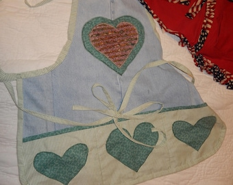 Denim One Piece Apron with Chenile Heart on top.