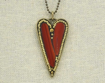 Red Variegated Stained Glass and Gold Seed Bead Heart Pendant Necklace