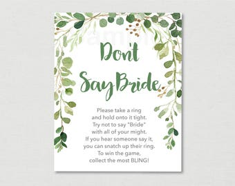 Rustic Green Floral Don't Say Bride Game / Floral Bridal Shower / Watercolor Floral / Bridal Ring Game / Printable INSTANT DOWNLOAD B115