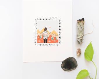 """Desert Woman Print, Desert Wall Art, Desert 8""""x10"""" Print, Woman Print"""