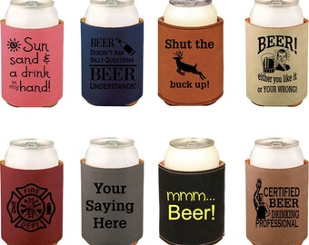 Custom Can Cooler, Leather, Beverage Holder,Engraved Can Cooler, Personalized