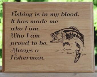 Laser Engraved Wood Plaque - Fisherman's Plaque - Laser Engraving -  Outdoorsman Gift - Fishing Theme Decor