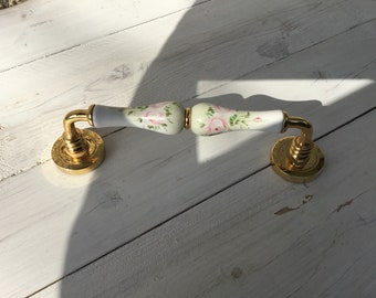 Antique brass handle and liberty style painted porcelain