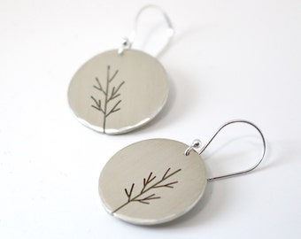 Autumn Moon Saplings sterling silver tree art earrings - made to order