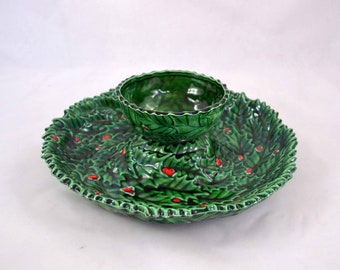 Ceramic Chips And Dip Dish, Two Piece Green Glazed Holly And Berries Chips N Dip Snack Set