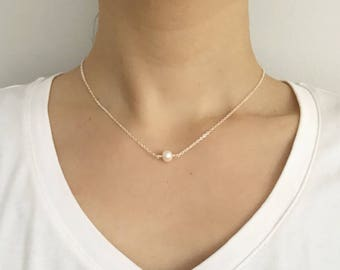 Freshwater Pearl Necklace, Single Pearl Necklace, Simple Pearl necklace, Wedding jewelry