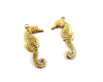 6 mirrored 24mm seahorse charm x 11mm raw brass stamping. CH-032
