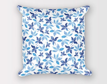 Blue Pillow cover 18 x 18, Pillow with insert, Throw pillow with insert, Throw pillow covers 18 x 18, Floral cushion cover, Cushion cover