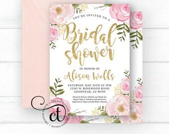 Bridal Shower Invitation, Bridal Shower Invite, Miss to Mrs. Wedding Shower Invitation, Blush, rustic floral Wedding Shower invite, boho