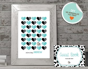 Cow Baby Shower Guest Book, Cow Guest Book, Teal, Black, Cow Print | DIY