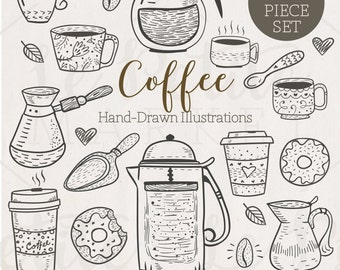 Cute Hand Drawn Café Clip Art, Hand Drawn Coffee Illustrations, Doodle Coffee Clipart, Hand Drawn Coffee Clipart, Coffee Vector Digistamps