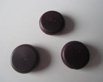 Set of 3 large flat beads wood - dark brown round - 3 cm