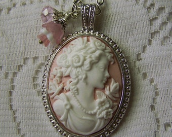 Pink Lady Cameo Necklace with Charms -  Butterflies & Roses - Goddess - Woman Cameo - Goddess Cameo Pendant - Complimentary USA Shipping
