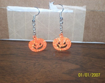 halloween themed pumpkin dangle earring set