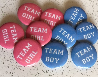10 x Gender reveal badges Team Boy Team Girl