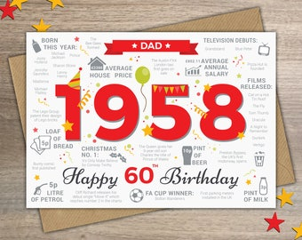 Happy 60th Birthday DAD Card - Born In 1958 Year of Birth British Facts / Memories Greetings Red
