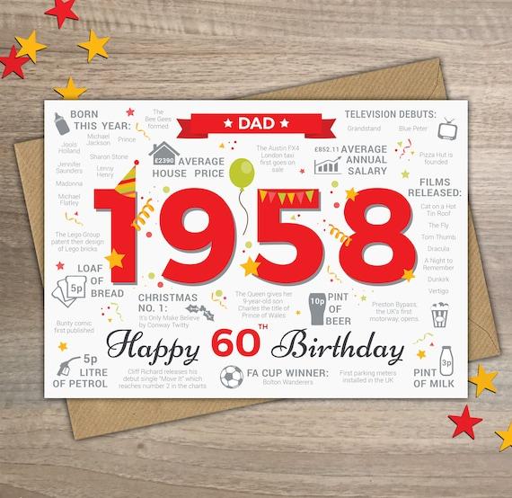 Happy 60th Birthday DAD Card Born In 1958 Year of Birth Happy 60th Birthday Dad