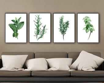 Set of 4 Herbs Kitchen Art Print, Green Herb Watercolor Painting, Mint Tarragon Thyme Basil Medicinal Plants, Herbal Home Garden Wall Decor