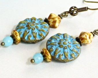 Blue Czech Earrings - Flower Earrings, Turquoise Blue Earrings Lightweight Earrings, Flower Jewelry, Botanical Jewelry