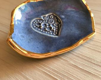 Ceramic Jewelry Dish Gold Rimmed