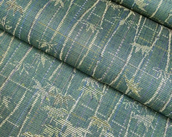 Vintage wool and silk blend Kimono fabric - green with golden bamboo - by the yard