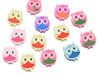 x 10 mixed multicolor owls 20 x 18 mm wooden spacer beads