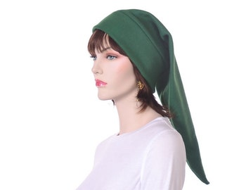 Dark Green Elf Hat Adult Mens Womens Costume Hat Pointed Hat Long Stocking Cap Warm Winter Beanie Green Pointed Hat
