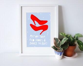 David Bowie Let's Dance A4 Illustration Print