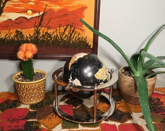 """6"""" Retro Revolving World Globe in a Stainless Stand"""