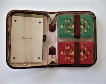 Vintage Bridge traveling set, Leather case, 2 unopened decks, score pad, card games, poker, gift idea