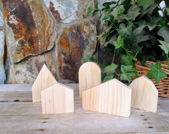 Wooden houses for painting - Set of 5 small rustic wooden houses - Wooden village - diy wooden houses to paint - Unfinished wood houses