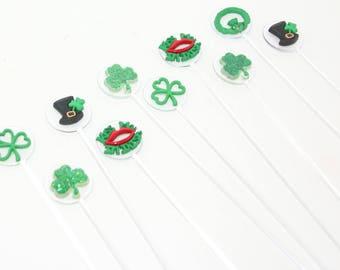 Irish St. Patricks  Drink Stirrers Swizzle Sticks Acrylic Set of 10